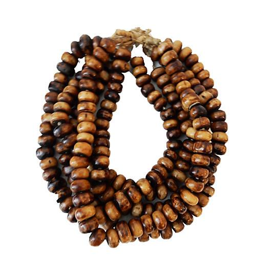 Jumbo Currency Bone Trade Beads, S/5