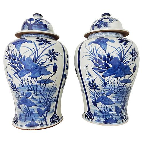 Blue & White Porcelain Ginger Jars, Pair