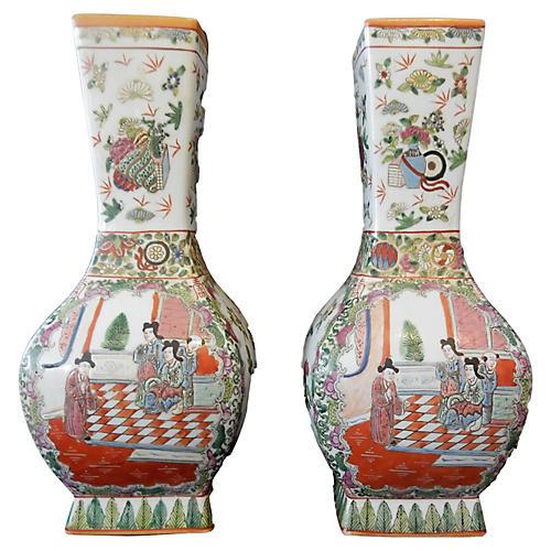 1920 Famille Rose Vases Pair