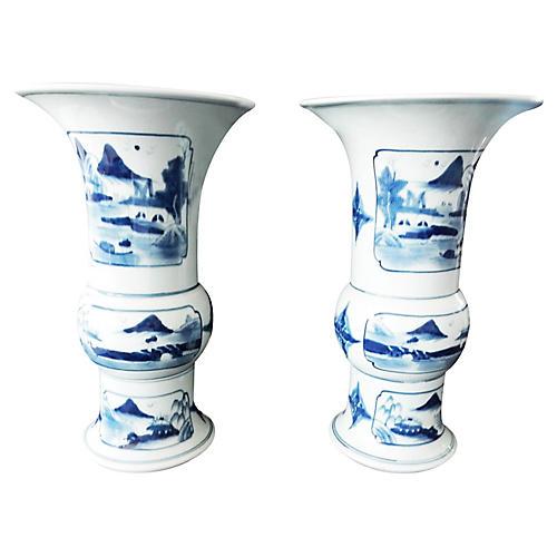 Blue & White Landscape Vases, S/2