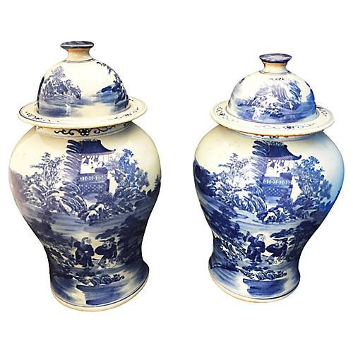 Porcelain Chinoiserie B & W Ginger Jars