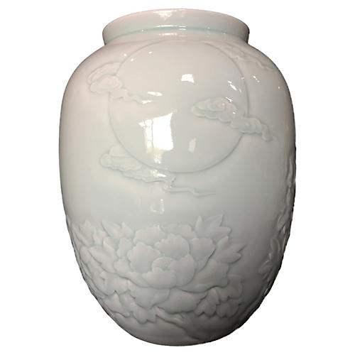 Celadon Moon & Chrysanthemum Vase