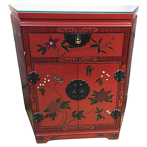 Lacquered Floral Cabinet