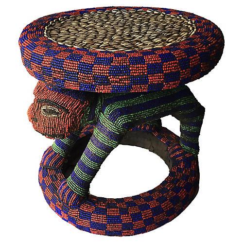 African Beaded Bamileke Stool /Table