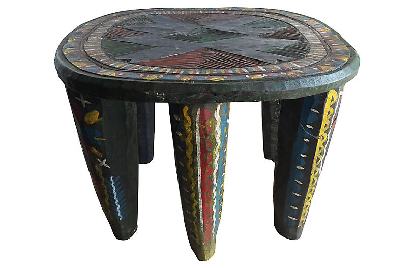 Lg Colorful Nupe Stool / Table