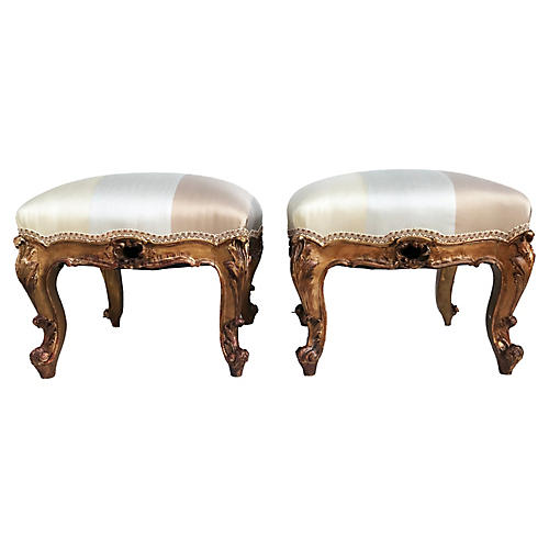 Antique French Foot Stools Louis XV Pair