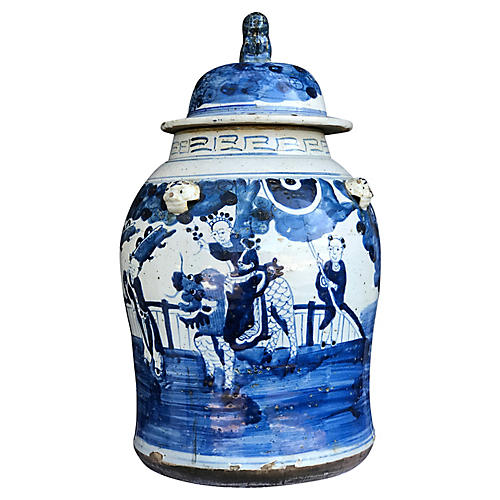 Lidded B&W Chinoiserie Ginger Jar