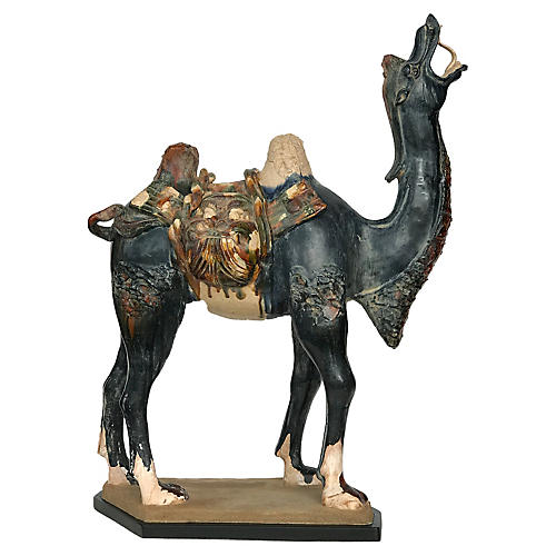 Tang-StyleTerracotta Camel on Wood Stand