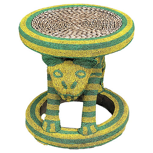 Large King Bamileke Beaded Table/Stool