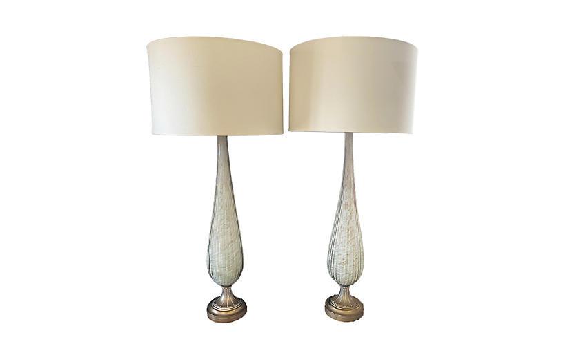 Mid Century Venetian Murano Lamps /Pair
