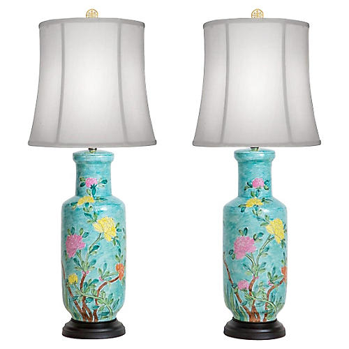 Hand-Painted Japanese Vase Lamps, Pair