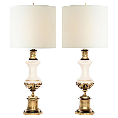 Westwood Brass & Porcelain Lamps, Pair