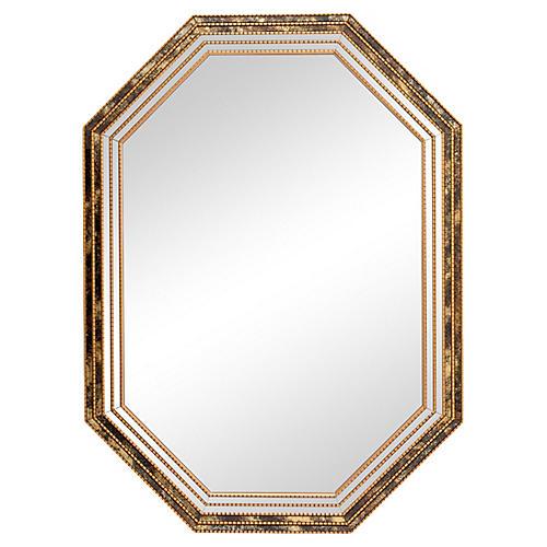 Black & Gold Octagonal Giltwood Mirror