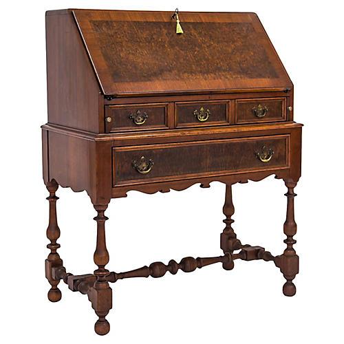 1920s Burled Slant Top Desk w/ Key