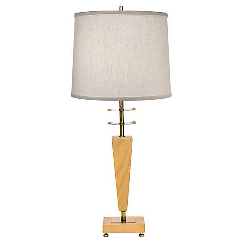 Sculptural Brass & Wood Table Lamp