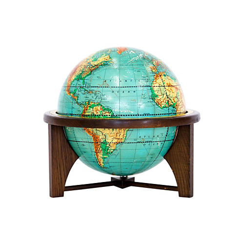 Mid-Century Tabletop Globe on Stand