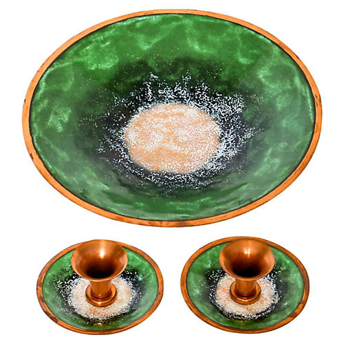 Enameled Copper Bowl & Candle Holders