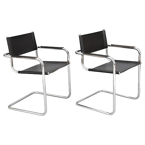 Chrome Cantilevered Armchairs, Pair