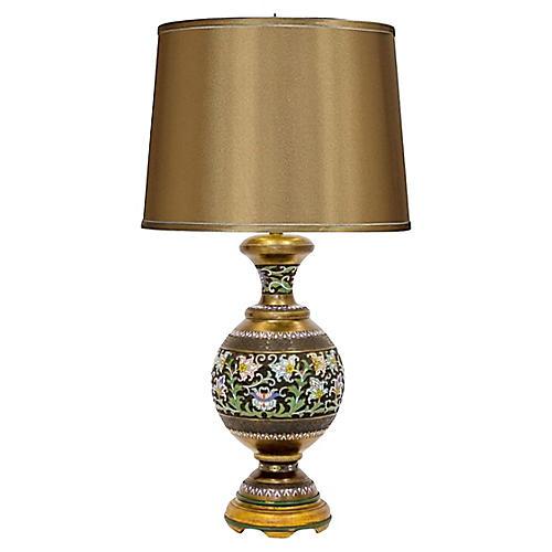 Champleve Brass Vase Lamp