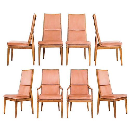 1960s Tall Dining Chairs, S/8