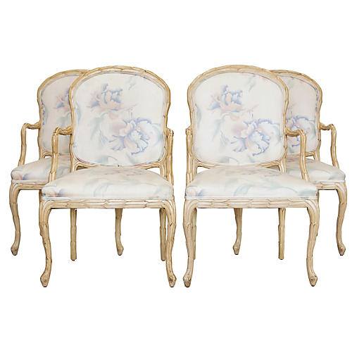 Carved Leaves Armchairs by Century, S/4