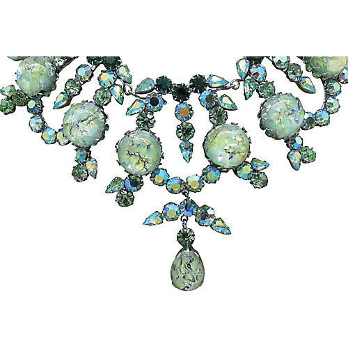 Austrian Multi-Green Rhinestone Necklace