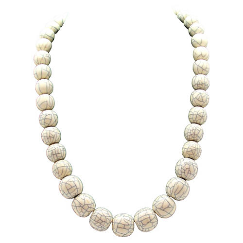 Graduated Crackle Bead Design Necklace