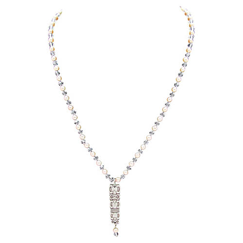 Pendant on Crystal Faux-Pearl Necklace