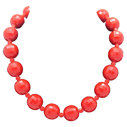 Red Faceted Bead Necklace