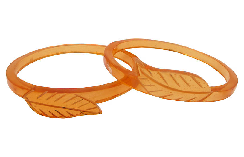 Lucite Carved Leaf Bangles - Set of 2 - Thanks for the Memories