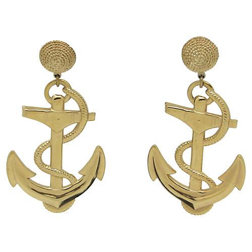 1970s Anchor Earrings