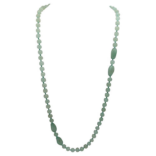 1960s Green Nephrite Bead Necklace