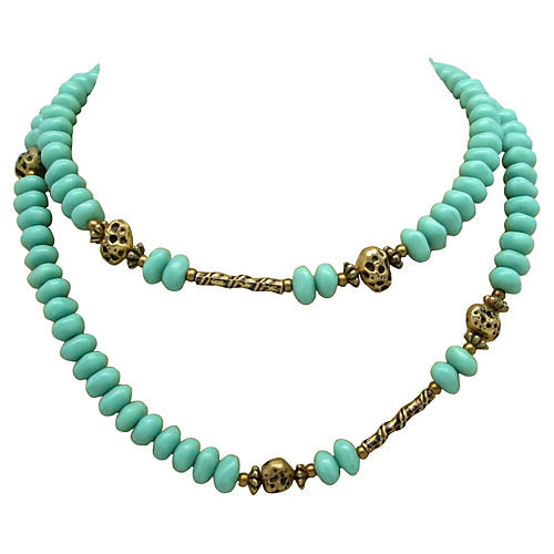 1960s Green Glass & Metal Bead Necklace
