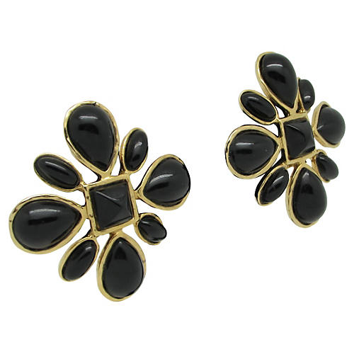 Les Benard Black Flower Earrings