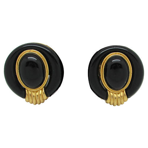 1980s Black & Gold Earrings