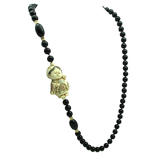 Bone Figural & Onyx Beads Necklace