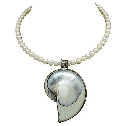 Faux-Pearl & Sterling Shell Necklace