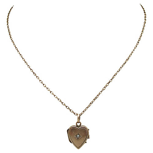 Victorian 10K Gold & Pearl Heart Locket