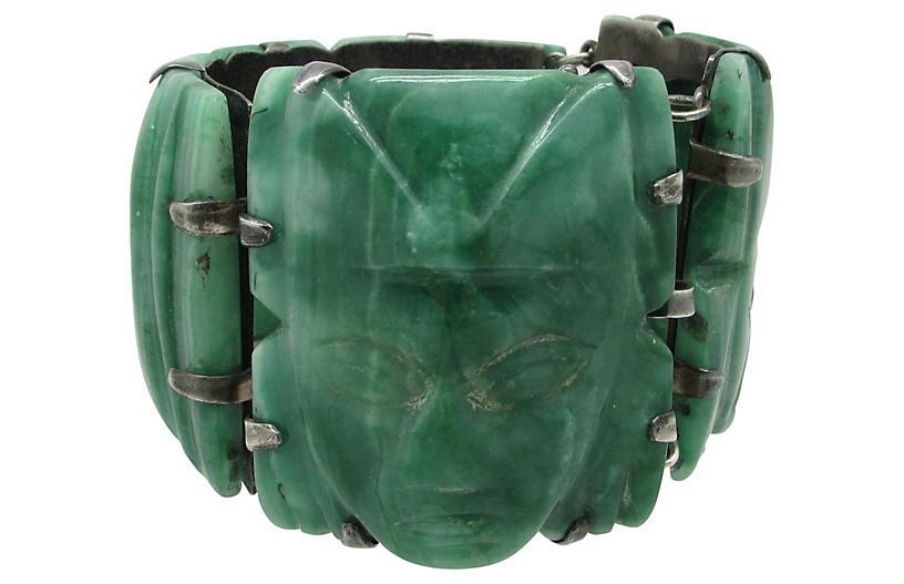 Carved Green Onyx Sterling Bracelet