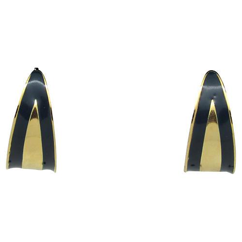 1970s Navy Enameled Demi-Hoop Earrings