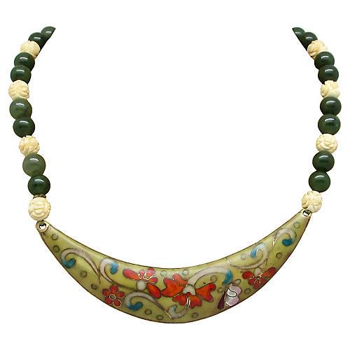 Jade, Bone & Enamel Crescent Necklace