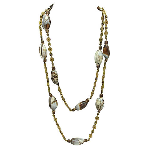 Miriam Haskell Brass Necklace w/ Shells