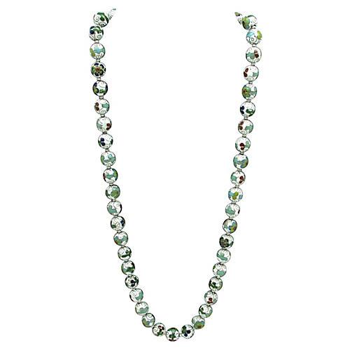 Asian White Cloisonné Bead Necklace