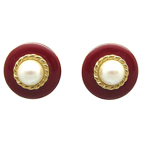 Monet Red Enamel & Faux Pearl Earrings