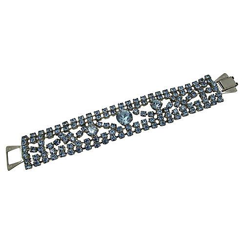 1950s Light Blue Rhinestone Bracelet