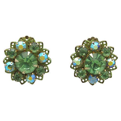 Green Rhinestone Flower Earrings