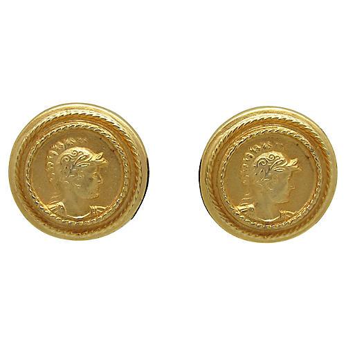 Goldtone Grecian Design Earrings