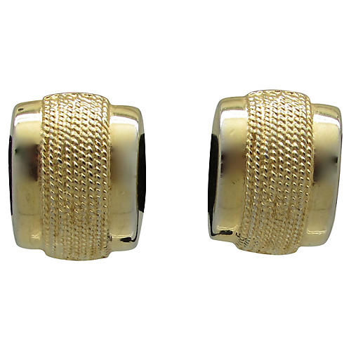 Tiered Ribbed Goldtone Metal Earrings