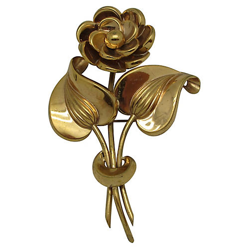 1940s Ornate Mexican Flower Brooch