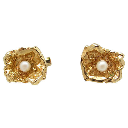 Gold Nugget Faux Pearl Cufflinks